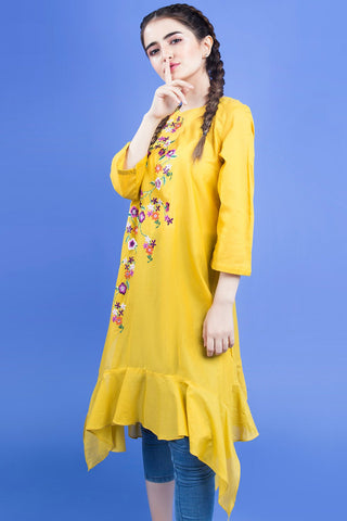 Single Shirt Bold Solid Embroidery LS19098 - Pret - Warda Designer Collection