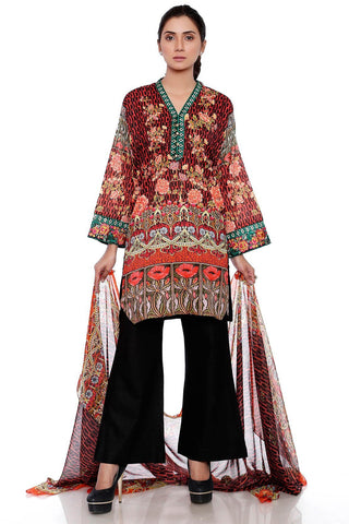 2PC Silver Chiffon Lawn Embroidery LS17113 - Pret - Warda Designer Collection