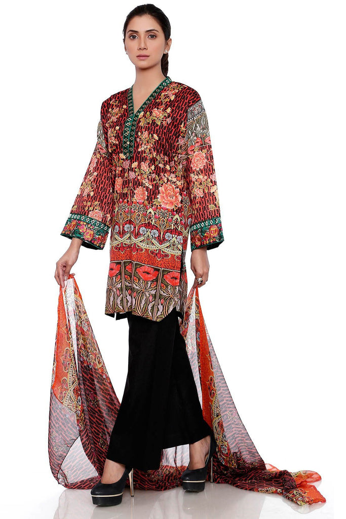 Warda Designer Collection - 2PC Silver Chiffon Lawn Embroidery LS17113