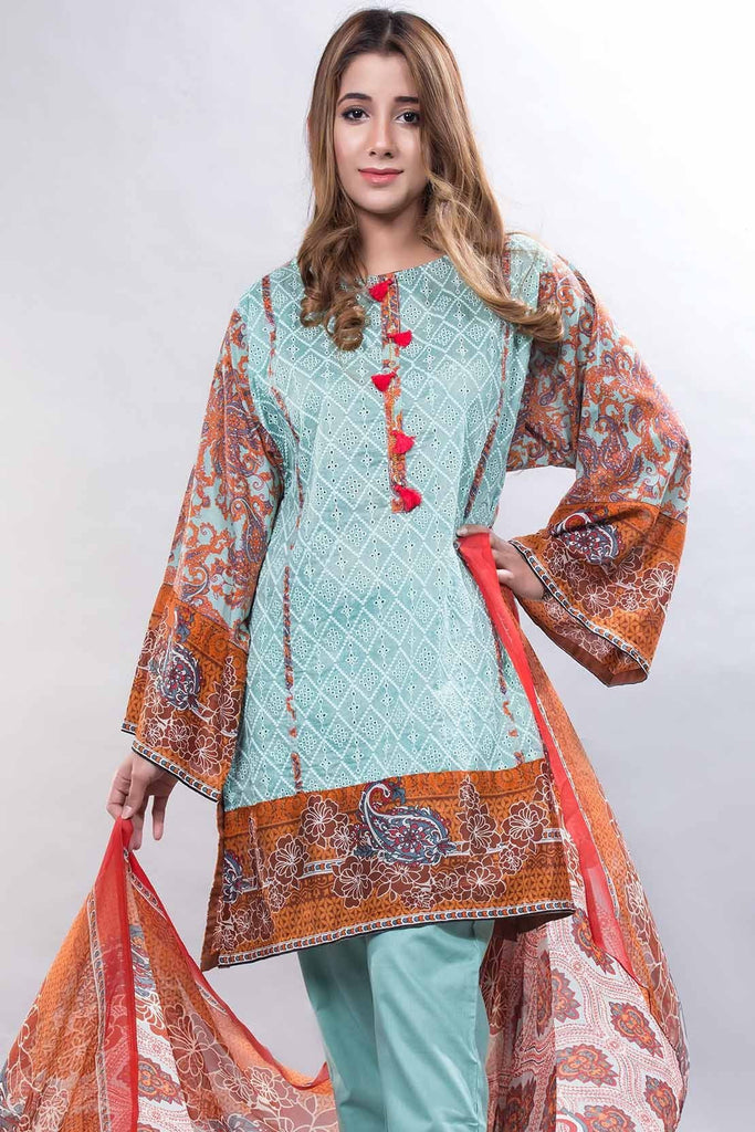 3PC Chiffon Lawn Chikan Kari LS18018 - Pret - Warda Designer Collection