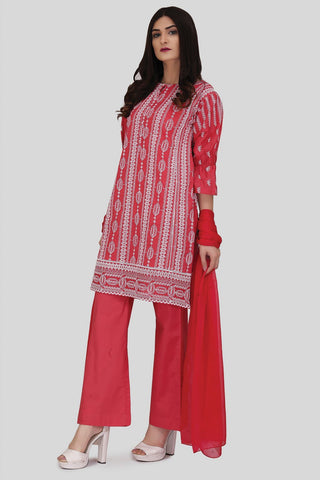 Warda Designer Collection - 3PC Solid Chikan Kari with Chiffon LS18054