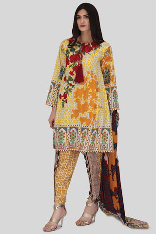 3PC Lawn Kashmiri Embroidery LS18065 - Pret - Warda Designer Collection