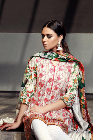 Warda Designer Collection - 3PC Lawn Chikan Kari Embroidery LS18066