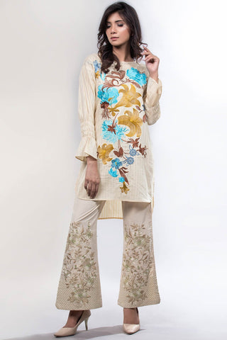 Solid Embroidery Trouser LS18070 - Pret - Warda Designer Collection