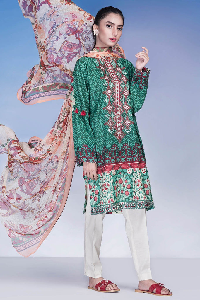 Warda Designer Collection - 3PC Chiffon Lawn Embroidery LS18205