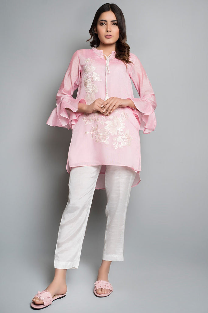 Warda Designer Collection - Flow Stitched Embroidered Shirt Solid Embroidery LS19018