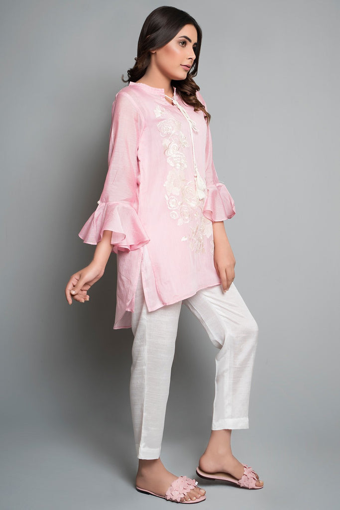 Flow Stitched Embroidered Shirt Solid Embroidery LS19018 - Pret - Warda Designer Collection
