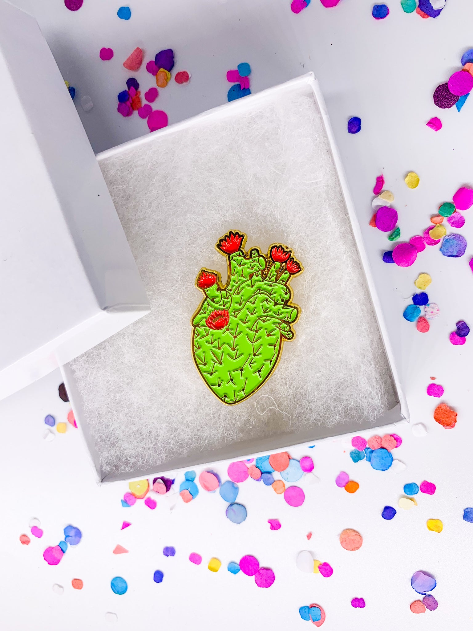 HEART Cactus Pin GOLD