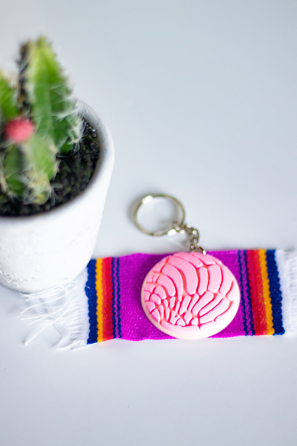 Pink Concha (rubber) keychain