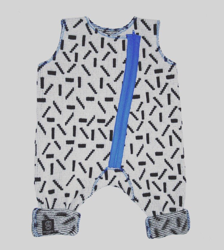 DASH BABY ROMPER IN WHITE AND BLACK