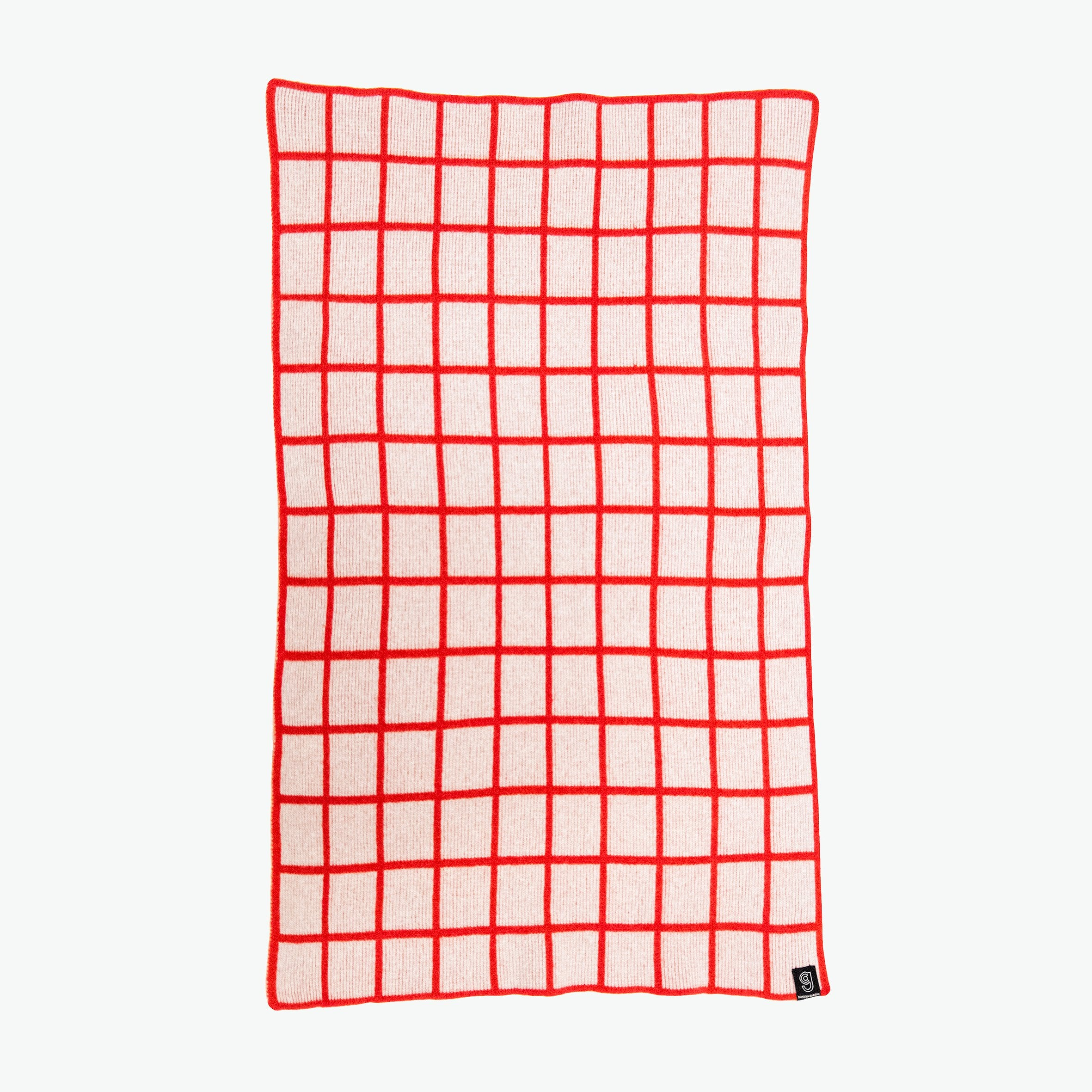GRID BABY BLANKET IN GREY AND RED