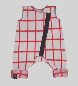 GRID BABY ROMPER IN GREY AND RED