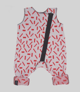 DASH BABY ROMPER IN GREY AND RED