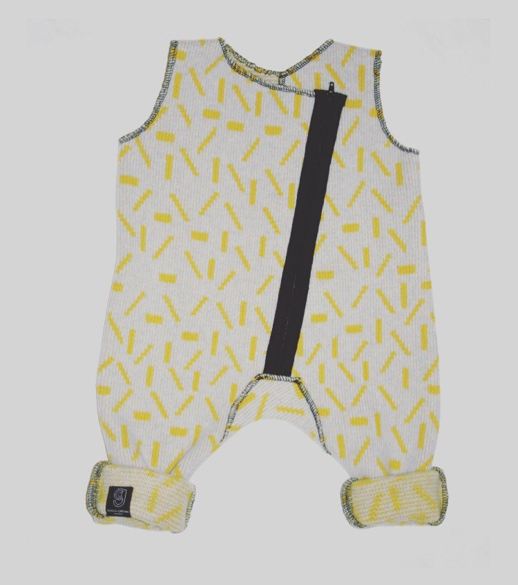 DASH BABY ROMPER IN GREY AND YELLOW