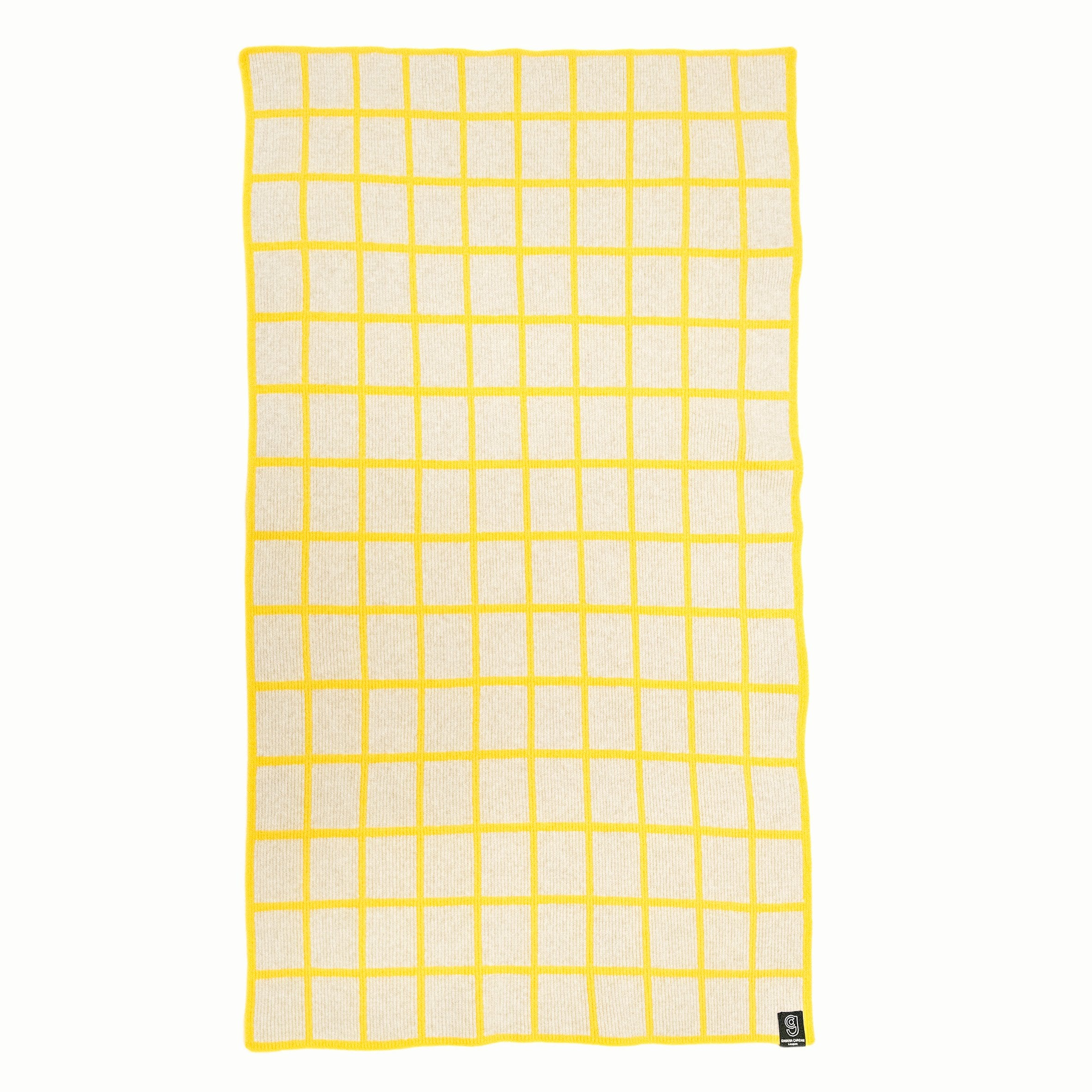 GRID BLANKET IN GREY AND YELLOW