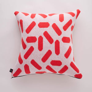 TIC-TAC CUSHION IN GREY AND RED