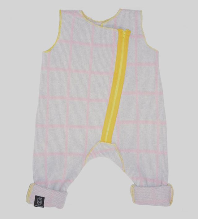 GRID BABY ROMPER IN GREY AND PINK