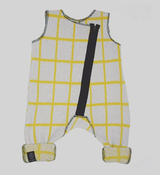 GRID BABY ROMPER IN GREY AND YELLOW