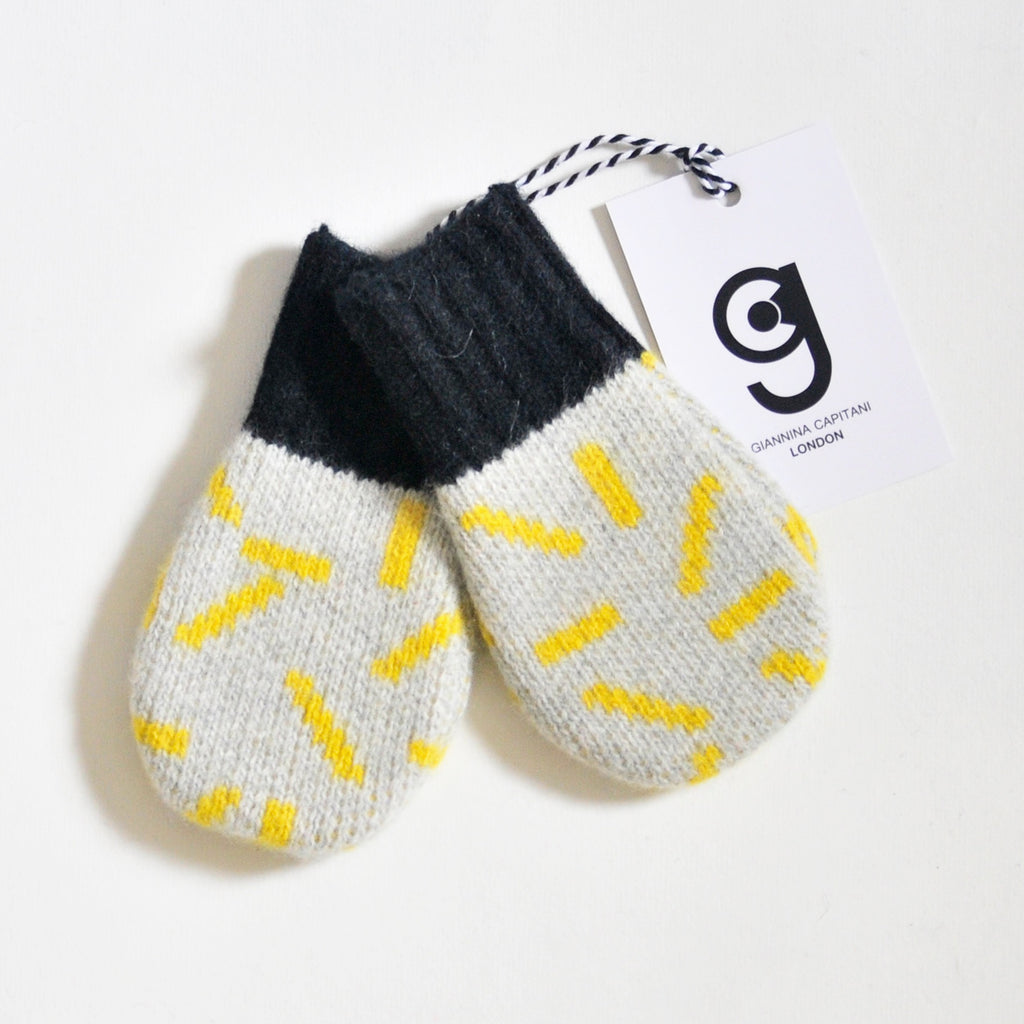 DASH BABY MITTEN IN GREY AND YELLOW