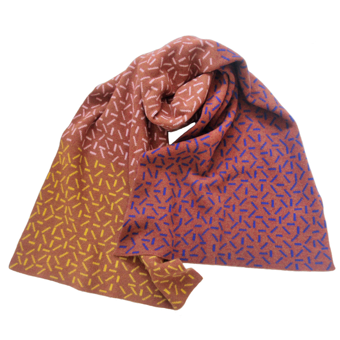 DASH BLANKET SCARF IN BROWN, BLUE, PINK AND YELLOW