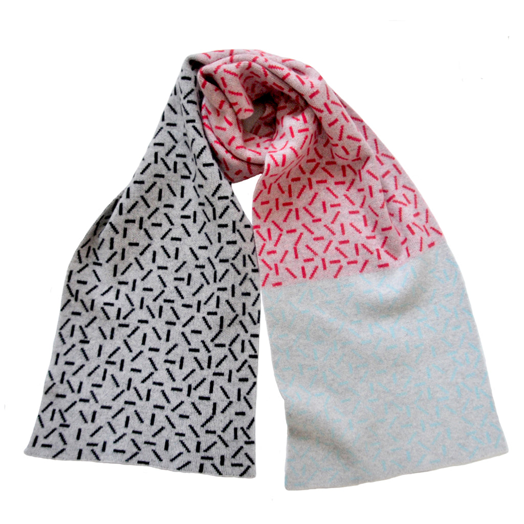 DASH WIDE SCARF IN GREY, RED, BLACK AND AQUA