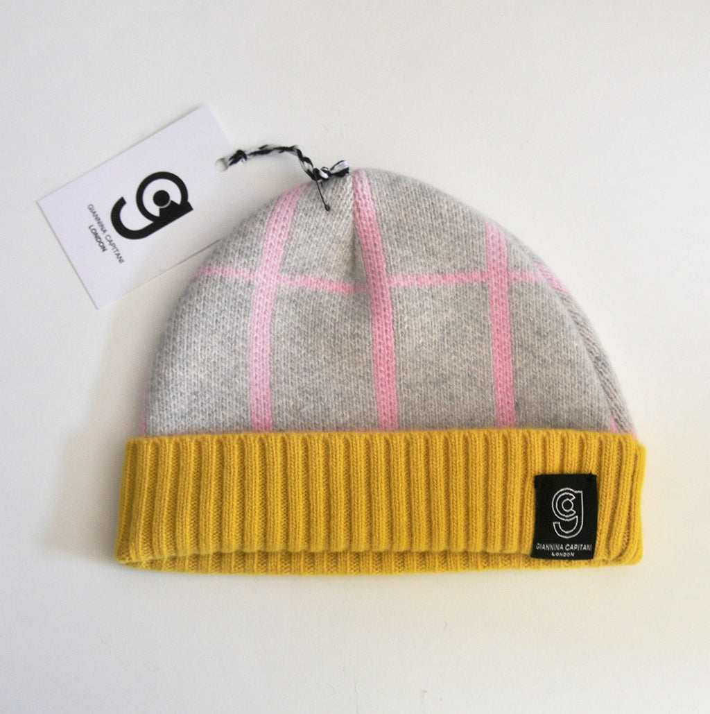 GRID BABY HAT IN GREY AND PINK