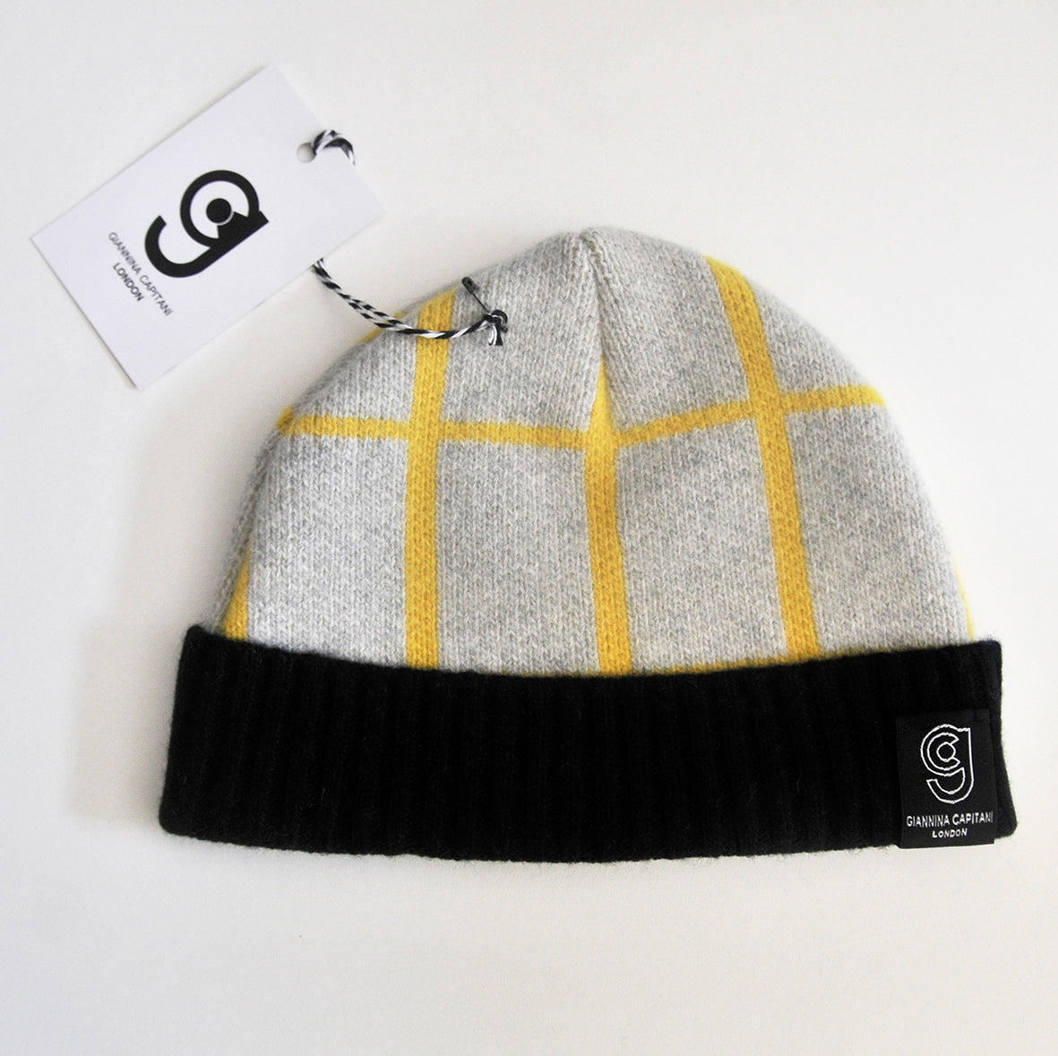 GRID BABY HAT IN GREY AND YELLOW