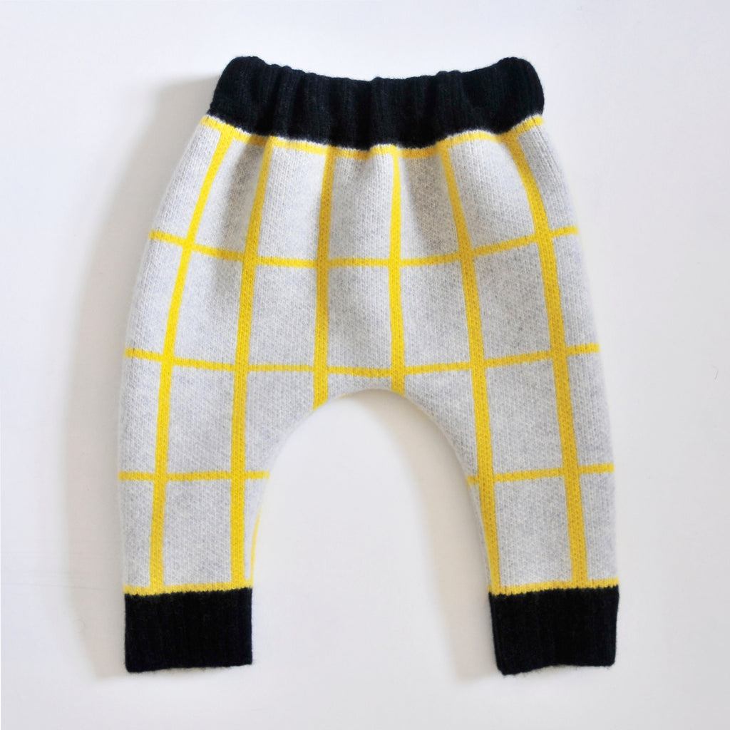 GRID BABY HAREM TROUSER IN GREY AND YELLOW