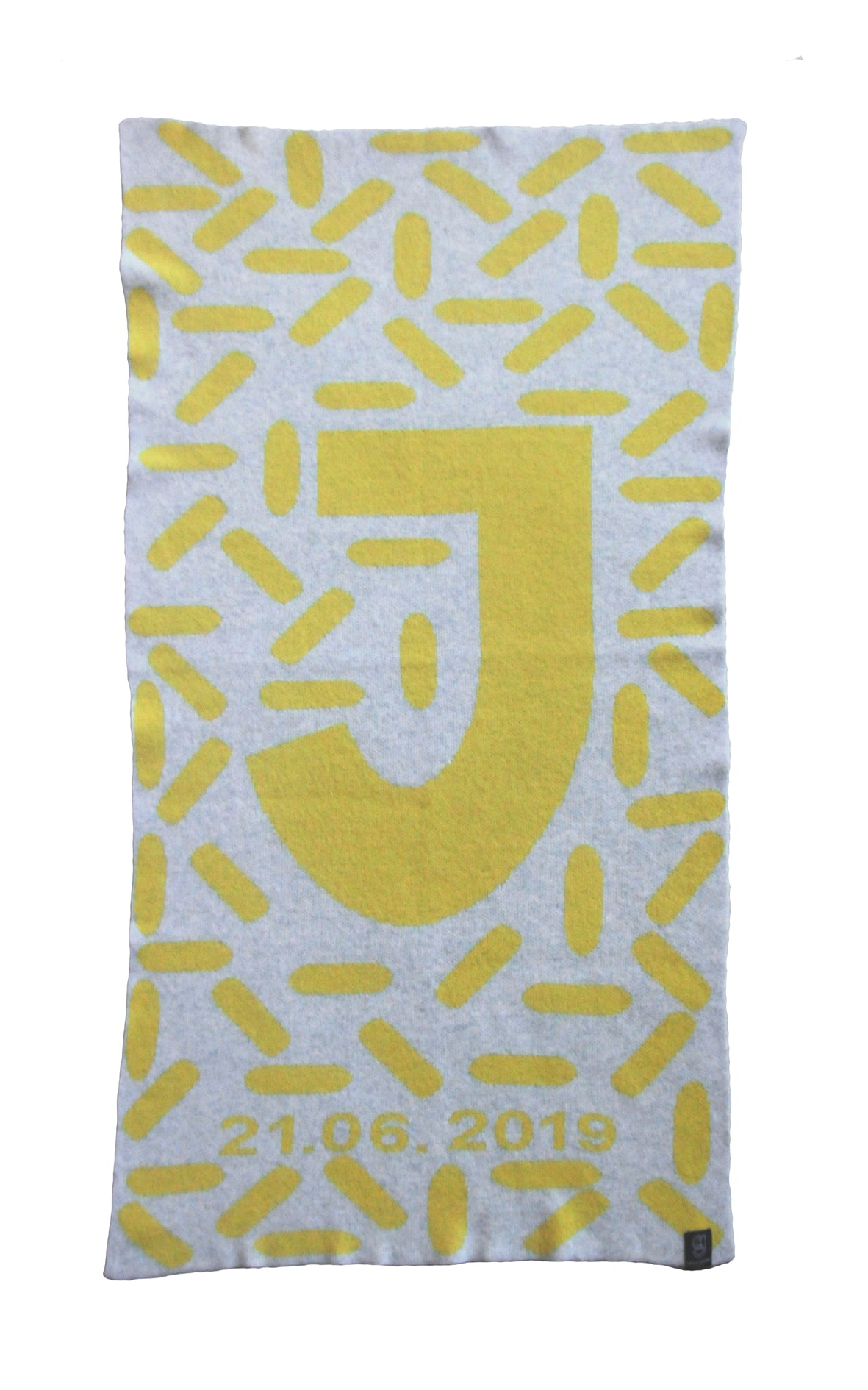 D.O.B ALPHABET BLANKET IN GREY AND YELLOW
