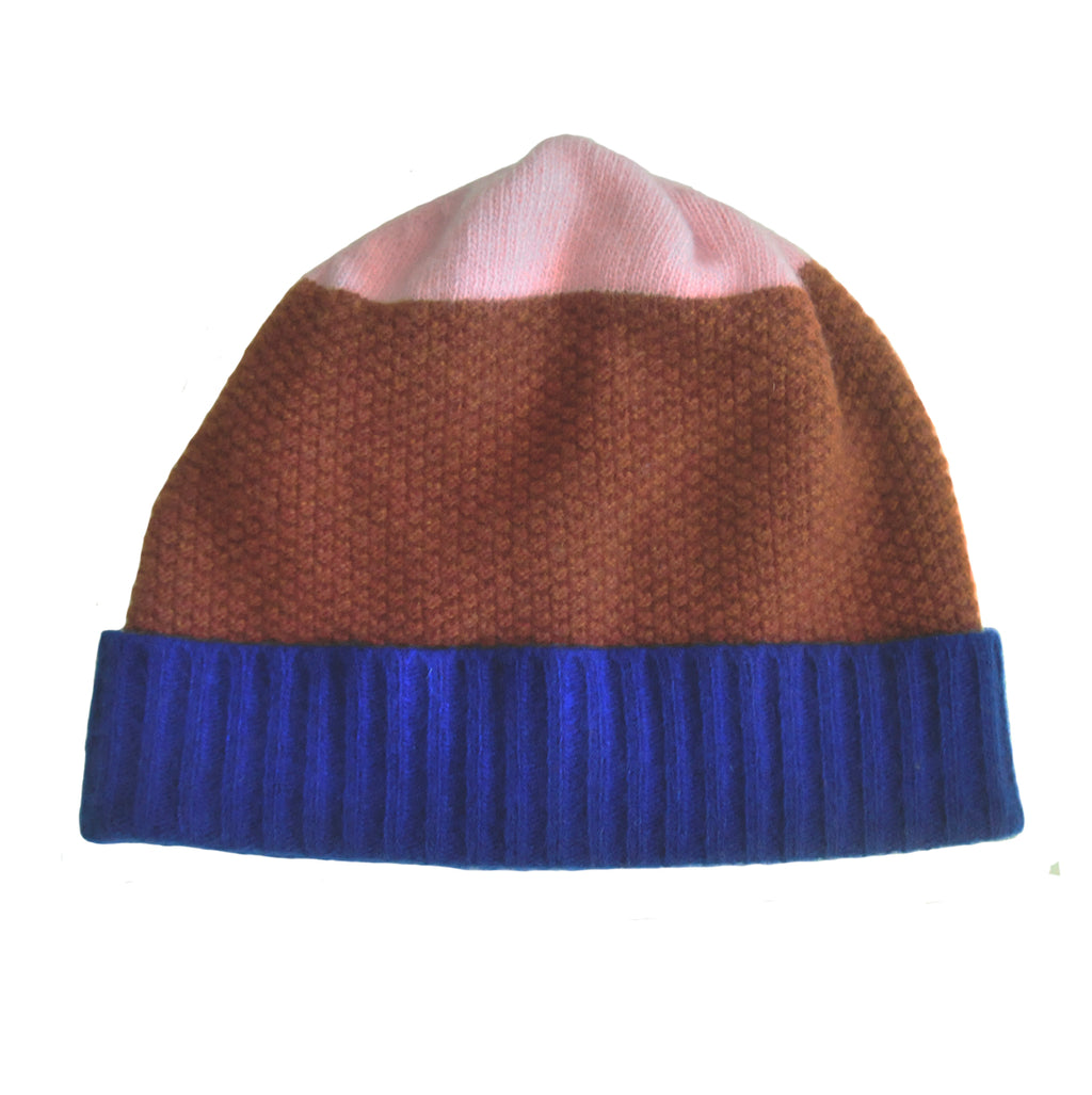 MOSS STITCH HAT IN BLUE/BROWN/PINK