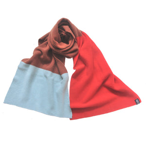 SAMPLE SALE - MOSS STITCH BLANKET SCARF IN RED/BROWN/AQUA