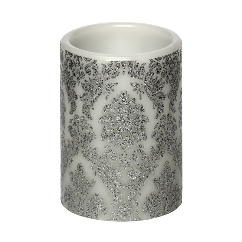 Flameless Candle Small Silver Decal