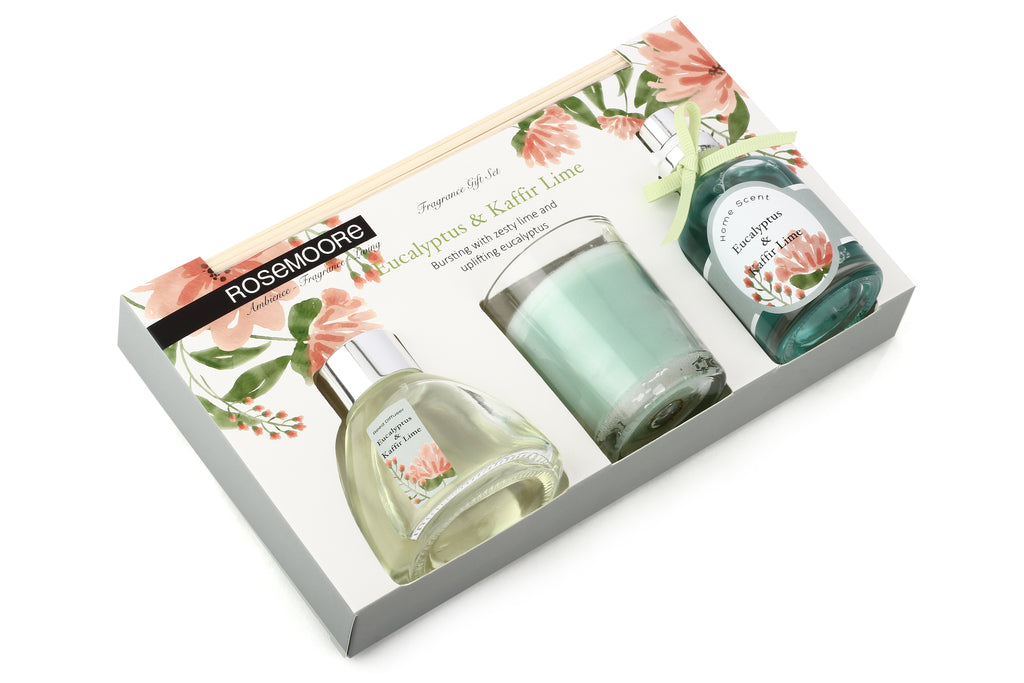 Rosemoore Gift Sets (Reed Diffuser 50 ml with 6 Reeds/Home Scent 50 ml / Scented Glass Candle) (Eucalyptus & Kaffir Lime)