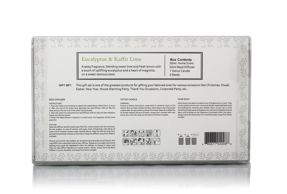 Rosemoore Gift Sets (Reed Diffuser 50ml with 6 Reeds/Home Scent 50ml / Scented Class Candle) (Eucalyptus & Kaffir Lime)