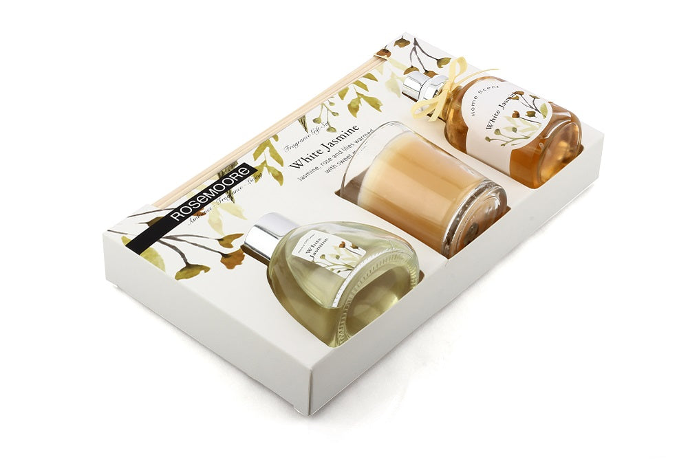 Rosemoore Gift Sets (Reed Diffuser 50ml with 6 Reeds/Home Scent 50ml / Scented Class Candle) (White Jasmine)