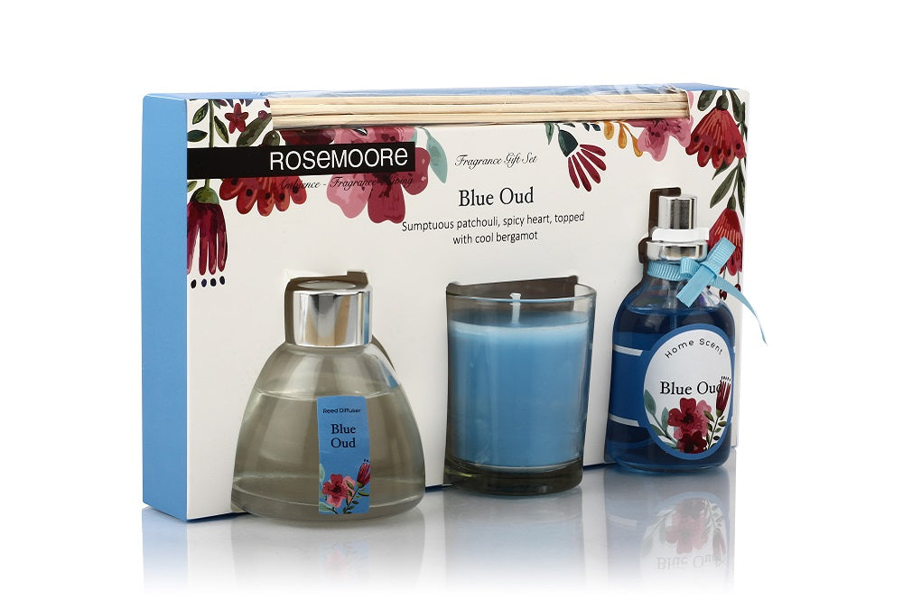 Rosemoore Gift Sets (Reed Diffuser 50ml with 6 Reeds/Home Scent 50ml / Scented Class Candle) (Blue Oud)