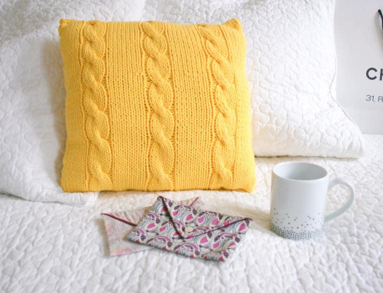 Tuto coussin tricot