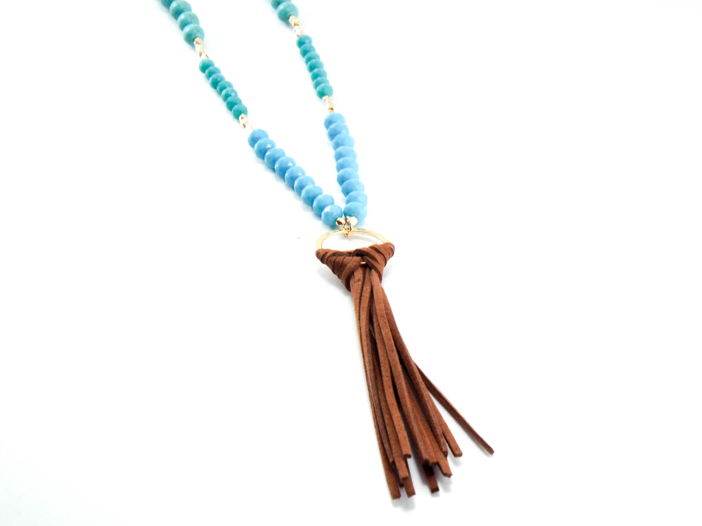 Beaded & Wrapped Tassel Necklace