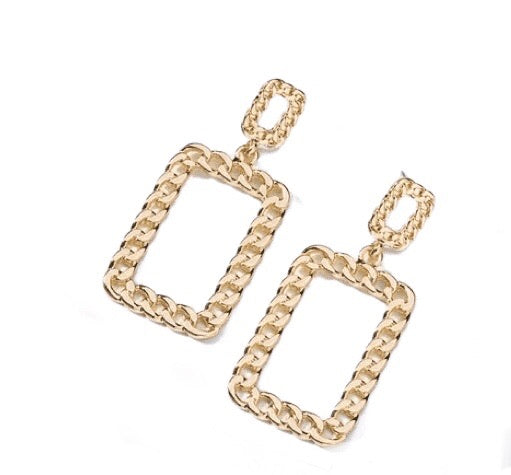 D Square Link Earrings