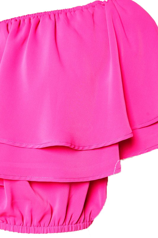 Pinkin Of Ruffles Crop Top