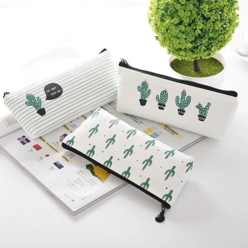 Green Cactus Canvas Pencil Case Pouch School Stationery