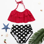 Load image into Gallery viewer, 2PCS Red Ruffle Halter Bikini with Polka Dot Bottom - ChildAngle