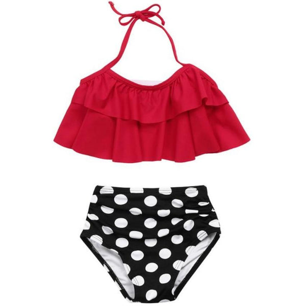 2PCS Red Ruffle Halter Bikini with Polka Dot Bottom - ChildAngle