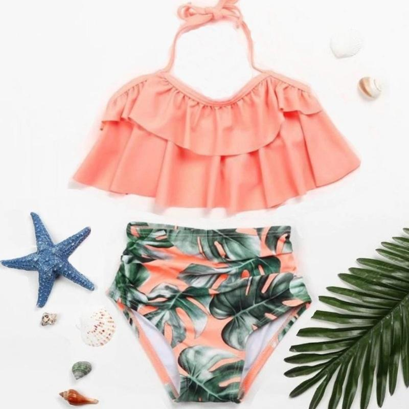 2PCS Ruffle Floral Pink Halter Bikini Swimwear - ChildAngle
