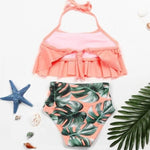 Load image into Gallery viewer, 2PCS Ruffle Floral Pink Halter Bikini Swimwear - ChildAngle