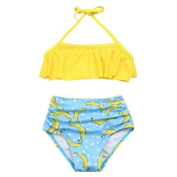 2PCS Yellow Ruffle Halter Swimsuits with Blue Bikini Bottom - ChildAngle