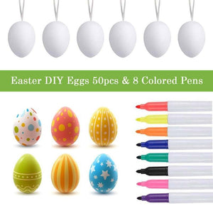 50 PCS Eggs Painting Kit DIY Blank Easter Eggs with Color Pens