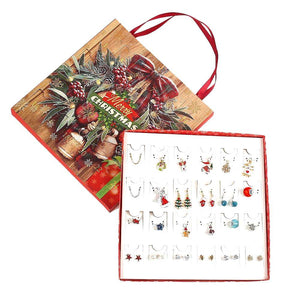 Teens Advent Calendar Jewelry Set for Girls Christmas Calendar Necklace Earrings