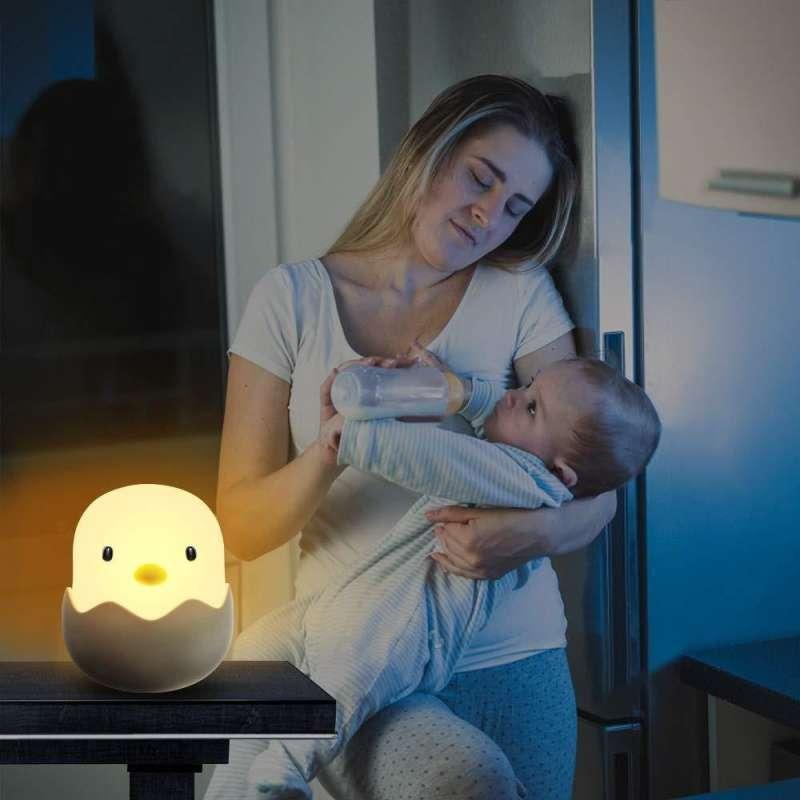 LED Night Light Chick Egg Shape Tumbler Rechargeable Baby Nursery Bedroom Lamp