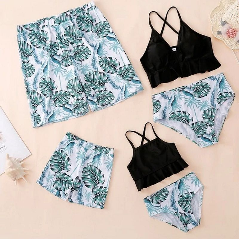 Family Swimwear Swimsuit Green Leaves Printing